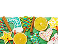 Christmas gingerbread cookies isolated Stock Photography