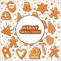 Christmas gingerbread cookies making a rectangular frame. Vector illustration.Happy winter holidays poster. New year