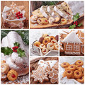 Christmas gingerbread cookies and stollen cake Royalty Free Stock Photo