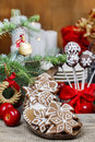 Christmas gingerbread cookies on wooden tray festive decoration Stock Images