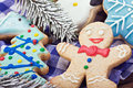 Christmas gingerbread decorations smiling on the background of Royalty Free Stock Photos
