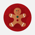 Christmas gingerbread flat icon with long shadow