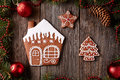 Christmas gingerbread home cookies fur tree and Royalty Free Stock Photo