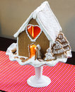 Christmas gingerbread house on a winter landscape Royalty Free Stock Photo
