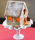 Christmas gingerbread house on a winter landscape Royalty Free Stock Photos