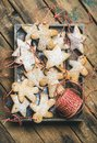 Christmas gingerbread star and angel shaped cookies with sugar powder Royalty Free Stock Photo