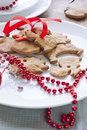 Christmas Gingerbreads with Red Ribbon Royalty Free Stock Photography