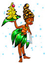 Christmas girl aborigine bananas Stock Photo