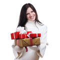 The Christmas girl with boxes of gifts Royalty Free Stock Images