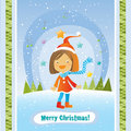 Christmas girl card Royalty Free Stock Photo