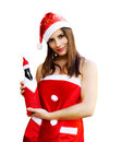 Christmas girl with champagne bottle Stock Photography