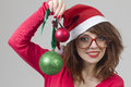 Christmas Girl with christmas ball Stock Photography