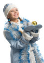 Christmas girl with decoration ball Royalty Free Stock Photography