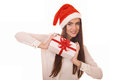 Christmas girl holding white gift box Royalty Free Stock Images