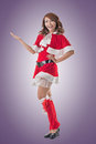 Christmas girl introduce smile happy asian full length portrait Royalty Free Stock Image
