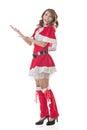 Christmas girl introduce smile happy asian full length portrait Stock Photography
