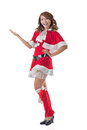 Christmas girl introduce smile happy asian isolated full length portrait Stock Photography