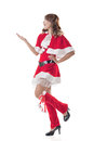 Christmas girl introduce smile happy asian isolated full length portrait Royalty Free Stock Photo