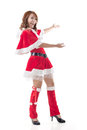 Christmas girl introduce smile happy asian isolated full length portrait Stock Image