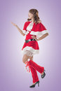 Christmas girl introduce smile happy asian isolated full length portrait Royalty Free Stock Photography