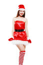 Christmas girl posing isolated young over white in striped stockings Stock Photos