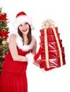V klobúk držanie stoh darčeková krabička