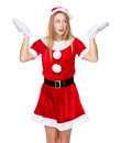 Christmas girl shrug her shoulder with feeling unsure isolated on white background Royalty Free Stock Photos