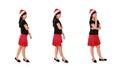 Christmas girl standing poses Royalty Free Stock Photo