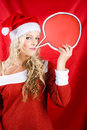 Christmas Girl Talking Though Copyspace Banner Royalty Free Stock Photography