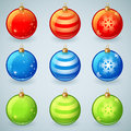 Christmas glass toy balls set with snowflake patterns Royalty Free Stock Images