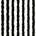 Christmas glitter seamless pattern background. Gold polka dot, foil confetti on trendy black and white stripes