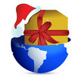 Christmas globe with Santa hat and present Royalty Free Stock Photo