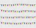 Christmas glowing lights. Garlands with colored bulbs. Xmas holidays. Christmas greeting card design element. New year