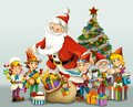 The christmas gnome drawrf illustration for the children happy and colorful Stock Photography