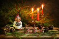 Christmas gnomes fairy tale for dwarfs Royalty Free Stock Images