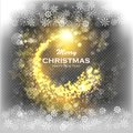Christmas Gold Background with Snowflakes and Snow. Abstract Bright Golden Falling Star - Shooting Star with Twinkling