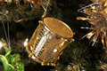 Christmas gold drum ornament Royalty Free Stock Photo
