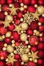 Christmas Gold and Red Bauble Decorations Royalty Free Stock Photo