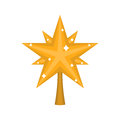 Christmas gold Star for tree. decoration for fir-tree isolated. Royalty Free Stock Photo