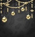 Christmas Golden Balls and Adornment on Black Background Royalty Free Stock Photo