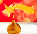 Christmas golden candle and bethlehem star Stock Photography