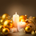 Christmas Golden Candles Decoration with Glitter and Baubles