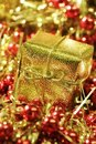 Christmas golden present Stock Photography