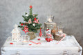 Christmas gray background with candles and tree Royalty Free Stock Photo