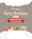 Christmas greating card vintage buildings with sn snowfall on winter Royalty Free Stock Image