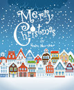 Christmas greating card vintage buildings with snowfall on winter Stock Images