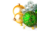 Christmas green gift with firtree branch Stock Photos
