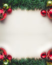 Christmas Green Grass on Blank Space of Old Paper with Balls and Royalty Free Stock Photo