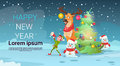 Christmas Green Tree Elf Reindeer Snowman Greeting Card Decoration Happy New Year Banner Royalty Free Stock Photo