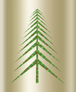 Christmas green tree a gold background illustration Stock Images